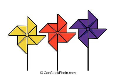 Pinwheel - Vector illustration of the paper propellers on...