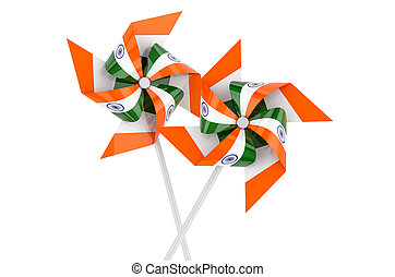 Pinwheel with Indian flag, 3D rendering