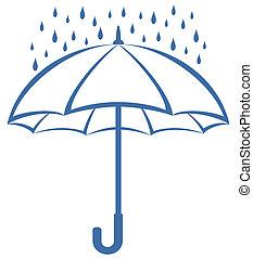 pioggia, ombrello, pictogram
