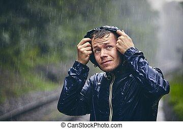 pioggia, pesante, viaggiatore