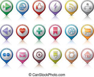 piolini, media, sociale, bottoni
