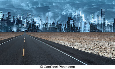 piombi, città, deserto, strada