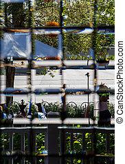 piombo, vetro, finestra, strada, attraverso, vista