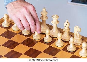 pion, mouvement, main, échecs, premier, marques, planche