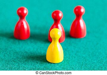 pion, trois, jaune, gages, vert, devant, rouges