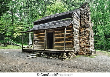 Pioneer Cabin - Settlers cabin on display in Americas Great...