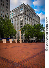 Pioneer Courthouse Square and buildings in downtown Portland, Oregon.