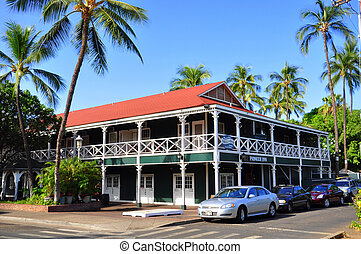 The Pioneer Inn was built in 1901 by George Freeland. Freeland was a member of the Royal Canadian Mounted Police who came to the islands in pursuit of a criminal and decided to stay. For a long time, the Pioneer Inn was the only hotel in Lahaina. The hotel underwent an extensive expansion in 1964.