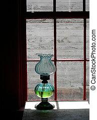 Antique oil lamp in western pioneer log cabin