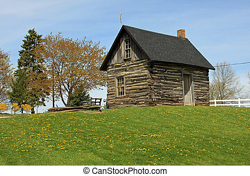 Pioneer Log Cabin in the Midwest - Pioneer cabin in rural...