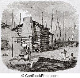 Pioneers hut - North-American pioneers hut, old illustration...