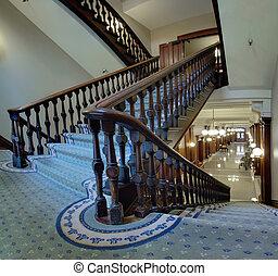pioneiro, antigas, corte judicial, escadaria