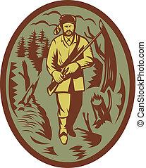 pioniere, cacciatore, cacciatore pelli, fucile