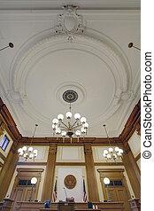 pionnier, baroque, plafond, tribunal