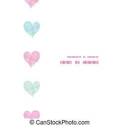 pionowy, barwny, próbka, ułożyć, polka, seamless, tekstylny, tło, serca, kropka