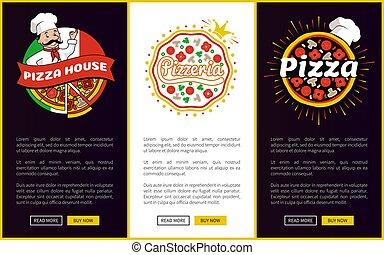 pionowy, dom, promocyjny, online, chorągwie, pizza