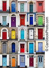 pionowy, fotografia, collage, od, 25, przód, drzwi