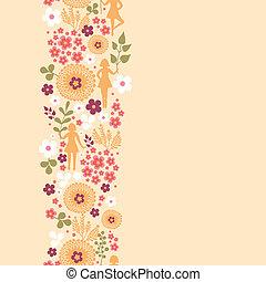 pionowy, próbka, dziewczyny, seamless, tło, kwiaty, brzeg