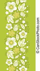 pionowy, próbka, seamless, florals, kimono, zielony, brzeg