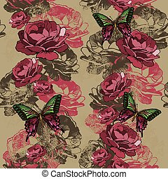 pionowy, próbka, zły, seamless, róże, wektor, butterflies.