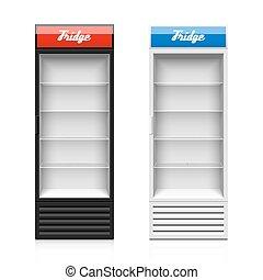 pionowy, szklane drzwi, wystawa, lodówka