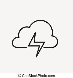 piorun, chmura, ikona