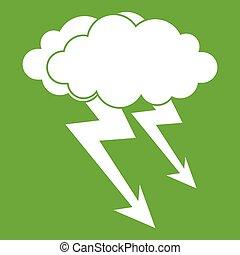 piorun, zielony, chmura, ikona
