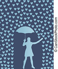 piovere, donna, ombrello, valentines, cuori, giorno, scheda