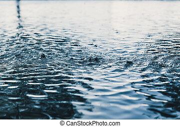 piovere, natura, goccia, caos, pioggia, onda, acqua, fondo