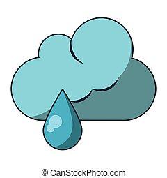 piovere, simbolo, tempo, cartone animato, nuvola