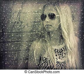 piovoso, finestra, ragazza adolescente, dietro