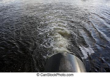 pipa, öntözés, gyűjtőmedence, nagy, víz, folyó, ellátás