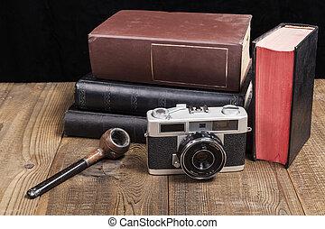 pipa, fényképezőgép, öreg