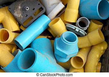 pipa, kék, pvc, yellow.