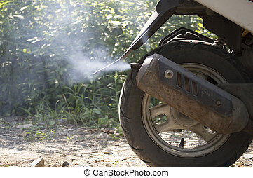 pipa, kipufogócső, dohányzik, moped
