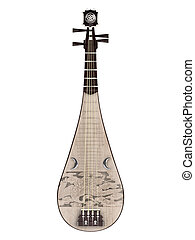 Pipa or Chinese guitar  isolated on white background