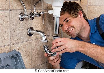 pipa, vízvezeték szerelő, alkalmas, mosogató