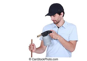 pipa, vízvezeték szerelő, fűtés, blow-torch