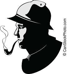 pipa, vektor, árnykép, dohányzó