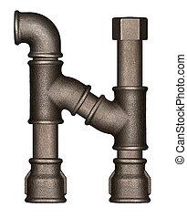 Industrial metal pipe alphabet letter N