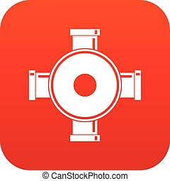 Pipe fitting icon digital red