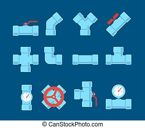 Pipe fitting set. Pipeline illustration. Pipe fitting for repair home. Gas pipe. Water pipe set. Sewerage illustration. Water drain or drainage system