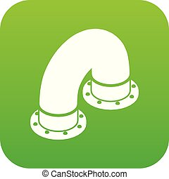 Pipe icon green vector