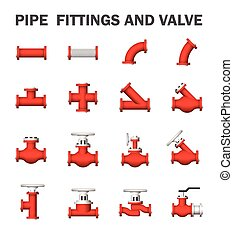 Pipe icon - Pipe fittings and valve isolated on white...