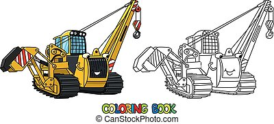 Pipe laying vehicle. Car with eyes. Coloring book