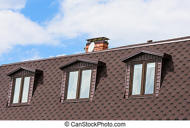 pipe on the roof - chimney on the roof of the house against...