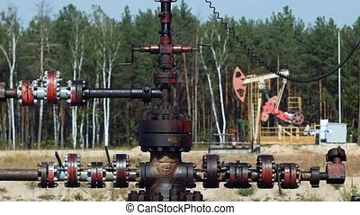 Pipe or tube from the Pump Jack on an oil well in Russia -...