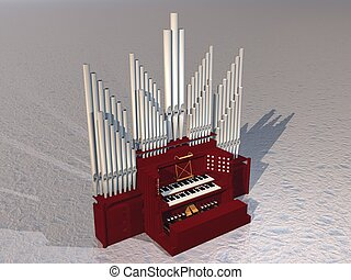 Close up of beautiful pipe organ instrument on grey ground