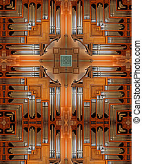 kaleidoscope cross from photo of pipe organ at Mt. Angel Abbey, Oregon