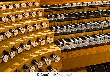 Pipe organ in church in Iceland, detail macro